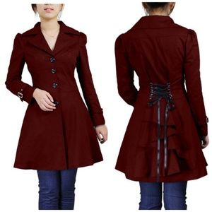 Jackets & Blazers - Plus Size Ruffle Back Lace Up Fitted Coat Jacket
